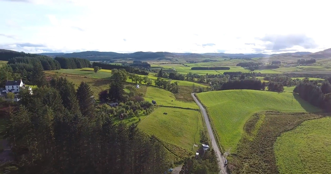Glenshee Glamping Drone footage looking East