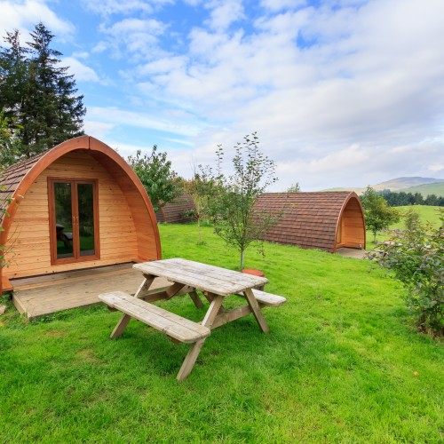 Cosy Wooden Glamping Pod Wood Fired Hot Tub can be delivered to your Podat Glenshee Glamping